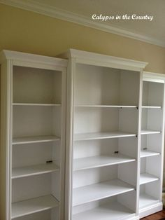 The Bookcases are Painted! Painting Bookcase, Painted Bookshelves, White Bookshelves, Bookcases, Diy Painting, Great Rooms, Furniture Ideas, Home Decor, Country