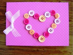 Pretty Handmade Valentine's Day Card Designs With Tiny Polca Dot Pink Greeting Card And Small White Ribbon Also Pretty Heart Buttons For Brilliant Tips To Choose Valentine Gift And Message For Greeting