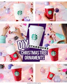 Make your own STARBUCKS CHRISTMAS TREE ORNAMENTS Re-Using the cups of your hot drinks! This DIY is super inexpensive and its perfect if you don't want to spend a lot of money in Tree decorations, Here's the link of the tutorial: https://www.youtube.com/watch?v=w2RGE6N1E9E #starbucks #diystarbucks #diystarbucksornaments #diyornaments #whitechristmastree #christmastreedecor
