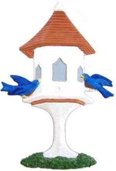"Refrigerator Magnet.  Birdhouse:  Height: 6.25"". width: 4.25"".  Thick: .020. Weight: 0.082oz.  Colors shown: Birdhouse:   Orange or White. Roof:  Brown or Copper.  Windows: Blue. Base:  Orange  or White. Birds: Yellow or Blue.  Grass: Green. Personalize the  birdhouse for a fine gift to any  gardener. Hand-painted by LSC Creations.  $12.50 each."