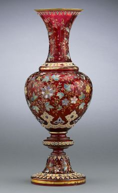 Antique Art Glass, Antique Moser Glass, Moser Vase, Ruby Glass ~Enameled Textured Oak Leaves and Flowers M.S. Rau Antiques