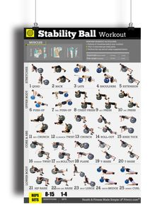 Get in great shape with our exercise ball workout poster. 25 essential ball exercises to gain flexibility, core strength and work your whole body.