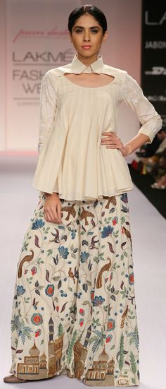 Off White Cotton Kalidar Top with Flared Pants by Purvi Doshi at Indianroots.com
