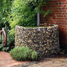 Can also be used for water storage. It holds the impressive amount of 800 l of water and should – if the rainwater is supposed to be directly fed into it – b. Rain Garden, Water Garden, Rain Barrel System, Diy Jardin, Water Catchment, Gabion Wall, Natural Pond, Water Collection, Rainwater Harvesting