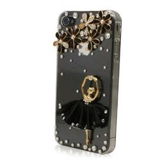 NEW FASHION Handmade Elegant Clear Crystal Bling Rhinestone Flower and Ballet Girl in Black Dress iPhone 4 4S Case Cover --- http://www.amazon.com/FASHION-Handmade-Elegant-Crystal-Rhinestone/dp/B0098KHE34/?tag=zaheerbabarco-20
