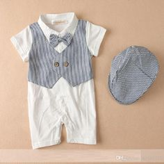 ae05dc413 2018 Fashion Handsome Baby Boys Clothes Newborn Rompers Birthday Costumes  Baby Jumpsuits Hats Short Sleeve Tuxedo 100% Cotton Bodysuits Tops