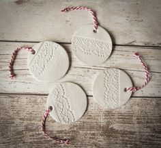 Set of 4  Embossed White Clay  Christmas Tree