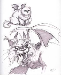 The Ol' Sketchbook: More Dragon-Cats