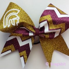 Mascot bow with chevron. Maroon, gold glitter and white fabric chevron cheer bow