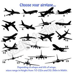Airplane Vinyl Wall Decals - Airplanes Nursery Decor Stickers - Airplane Wall Decals - Aviation Decor - Pick Your Style - Choice of 20