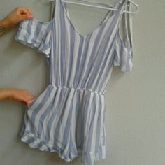 98bd4e01fd43 American Eagle Outfitters baby blue and white striped nautical romper. Very  light and comfortable and