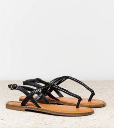 Black AEO Braided T-Strap Sandal