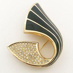 Vintage 1970s gold toned Christian Dior enameled rhinestone brooche, costume jewelry by VintageKabinet on Etsy
