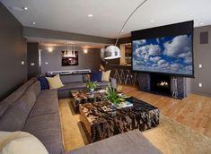 Living Room with TV Over Fireplace