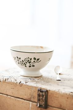 Vintage French Green Floral Cafe Au Lait Bowl