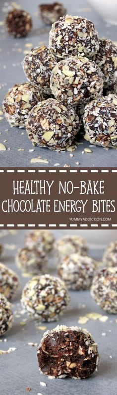 Healthy No-Bake Peanut Butter Chocolate Energy Bites Need a quick snack to give you energy in the afternoon? These energy bites are made with clean eating ingredients and make a great grab-and-go snack. Plus, they are sweet enough to sub as a healthy de Energy Snacks, Protein Snacks, Protein Bars, Healthy Protein Balls, High Protein, Healthy Energy Bites, Food Energy, Protein Fruit, No Bake Energy Bites