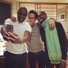 Uzodinma Iweala, Idris Elba and Cary Fukunaga. Writer, Actor and Director of Beasts of No Nation. Talented dudes.