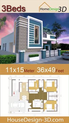 house front design single floor House Design Meters Feet 3 bedrooms Terrace roof The House has: -Car Parking and garden -Living room, -Dining room -Kitchen Bedrooms, 1 bathroom -washing room House Design 3d, Single Floor House Design, House Outside Design, Bungalow Haus Design, Modern Bungalow House, House Front Design, House Design Photos, 3d House Plans, House Layout Plans
