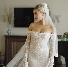 Hailey Bieber chose Virgil Abloh to design gown to reflect street style in final dress fitting Daily Mail Online Off White Wedding Dresses, Most Beautiful Wedding Dresses, Popular Wedding Dresses, Celebrity Wedding Dresses, Celebrity Weddings, Wedding Gowns, Wedding Bands, Celebrity Gowns, Celebrity Style