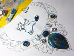 Эскиз нарисован. Начало положено.#колье#эскиз#тайны_подводного_мира #кианит #сваровски#sw_strazy #творю_с_kaboshon #шаттукит #embroidery #mare#sea