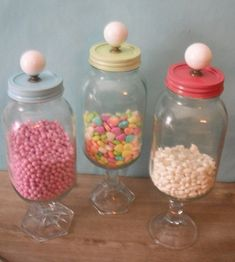 Recycle those unused Mason Jars and glass candle sticks.  Cute way to store your candies, nuts, mints, etc.
