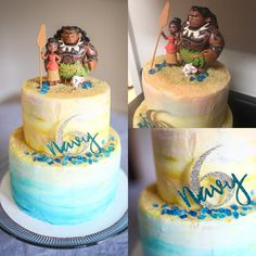 Moana birthday cake Ombré buttercream Blue yellow ombré  Two tier beach theme cake