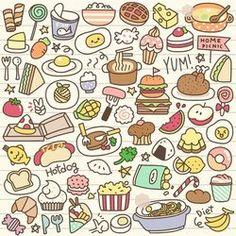 Kawaii Food Doodle Coloring Page Printables Food