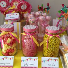 Girls' sweets table (at my house 2&4 year old birthday)