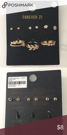 Forever 21 earnings and rings Brand new!! Size 8   Reasonable offers accepted! Usually ships next day❤️ Forever 21 Jewelry Earrings