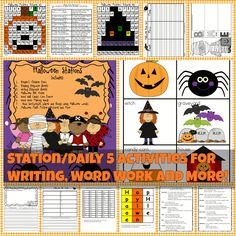 Halloween Stations Includes: Reader's Theater Poem Reading Response Sheets Writing Response Sheets Halloween ABC Order Word Wall Candy Corn Frame Word Work Making Words  Noun Sort(people, places and things using Halloween words). Halloween Math Mystery Pictures and More!