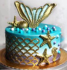 43 Ideas For Cake Designs Birthday Kids Girl Pretty Cakes, Cute Cakes, Beautiful Cakes, Amazing Cakes, Mermaid Birthday Cakes, Mermaid Cakes, Cake Birthday, Ocean Cakes, Beach Cakes