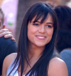 Michelle Rodriguez. Straight hair. Fringe.