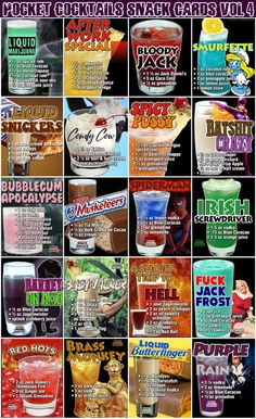 Millions of People Enjoy Pocket Cocktails. Check out our World Famous Drink Posters. Liquor Drinks, Dessert Drinks, Cocktail Drinks, Yummy Drinks, Craft Cocktails, Mixed Drinks Alcohol, Alcohol Drink Recipes, Alcohol Shots, Alcholic Drinks