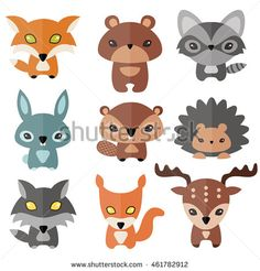 Vector set of cute forest animals. Flat design. Lynx