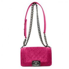 Authentic Chanel Fuchsia Velvet  Boy Flap Bag