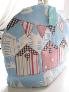beach hut tea cosy with bunting