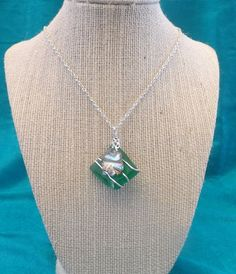 Green Wire Wrapped Sea Glass Necklace by TheGreenEyedTurtle, $20.00