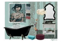 Turquoise, white and a claw foot bathtub