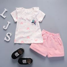 Baby Girls Clothing Sets from Nina's Fashion Girls Summer Outfits, Cute Outfits For Kids, Toddler Girl Outfits, Baby Girl Dresses, Summer Girls, Baby Dress, Baby Girls, Toddler Girls, Girls Fashion Clothes