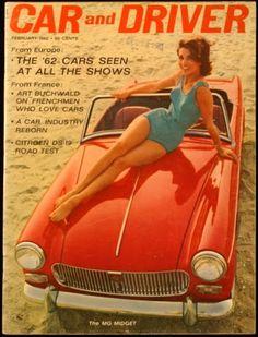 Car and Driver Magazine, February 1962 British Sports Cars, Cool Sports Cars, Mg Midget, Classic Cars British, British Car, Austin Healey Sprite, Mg Cars, Car Magazine, Citroen Ds