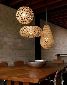 A collection of timber woven look pendants.