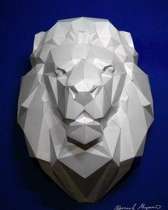 #lowpoly #lion #trophy #papercraft #animal #lasercut #polygonalpaper #polygonal…