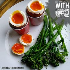 Serve steamed or boiled tenderstem broccoli with boiled eggs for a low carb breakfast. Tenderstem Broccoli, Emily Scott, Vegetarian Paleo, Low Carb Breakfast, Boiled Eggs, Toast, Keto, Cooking, Healthy