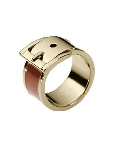 Michael Kors Exclusive Wide Buckle Ring, Brown.