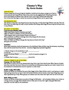 This is a lesson plan to go along with the Kevin Henkes book Chester's Way.  It included cross curricular ideas, graphic organizers to use, etc. Guided Reading Lesson Plans, Guided Reading Levels, Chesters Way, Kevin Henkes Books, Cross Curricular, Author Studies, Problem And Solution, Graphic Organizers, I School