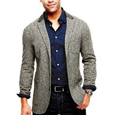this knit jacket is sophisticated and comfortable. just what men are looking for.