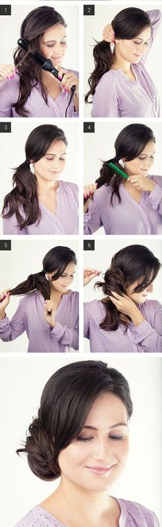 Lazy Girl Hairstyles - Easy Hairstyles To Do At Home - Side Chignon Lazy Girl Hairstyles, Feathered Hairstyles, Hairstyles With Bangs, Braided Hairstyles, Brunette Hairstyles, Wedge Hairstyles, Everyday Hairstyles, Trendy Hairstyles, Prom Hairstyles