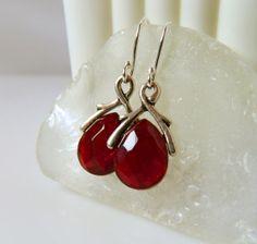 Wine Red Earrings Burgundy Crystal Briolette by MsBsDesigns, $30.00