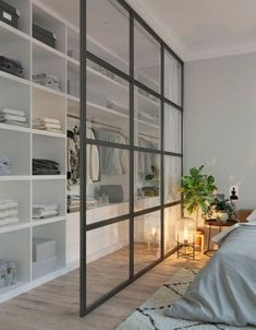 Délimiter le dressing du coin nuit avec une grande verrière Scandinavian Interior Bedroom, Scandinavian Style, Scandi Bedroom, Bedroom Wardrobe, Home Interior Design, Wardrobe Interior Design, Flat Interior, Interior Modern, Interior Ideas