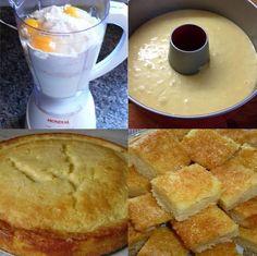 Ingredientes 1 lata de leite condensado 4 ovos 1 xícara de chá de farinha de trigo 1 colher de sopa de fermento 1/2 xícara de chá de manteiga Calda: 1 xícara de chá de água 1 xícara de chá de açúcar 1 colher de sopa de baunilha. Modo de Preparo... Recipe Scrapbook, Chocolate, Coffee Cake, Cornbread, French Toast, Bakery, Good Food, Food And Drink, Breakfast